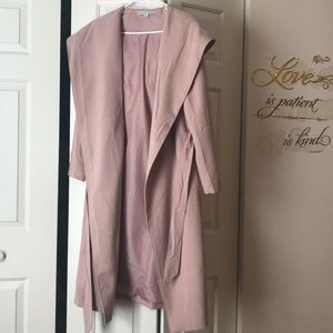 Rose blush hooded trench coat